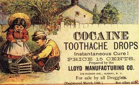 Cocaine Drops for children with toothaches