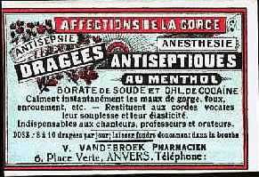 "Cocaine Tablets (1900) was given to actors, singers, teachers, and preachers for ""smooth"" voice and maximum performance"