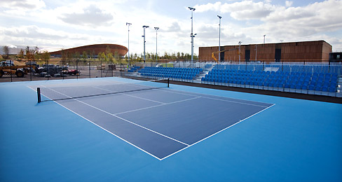 Blue color of the tennis courts