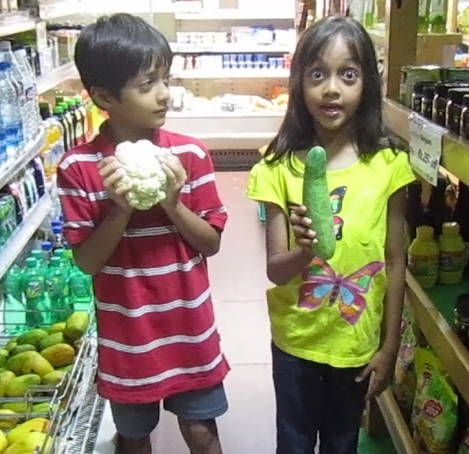 Kids from India and Vegetable Choices