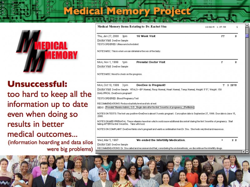 2013 Think Tank Presentation on Socio-Technical System Design: Medical Memory 2