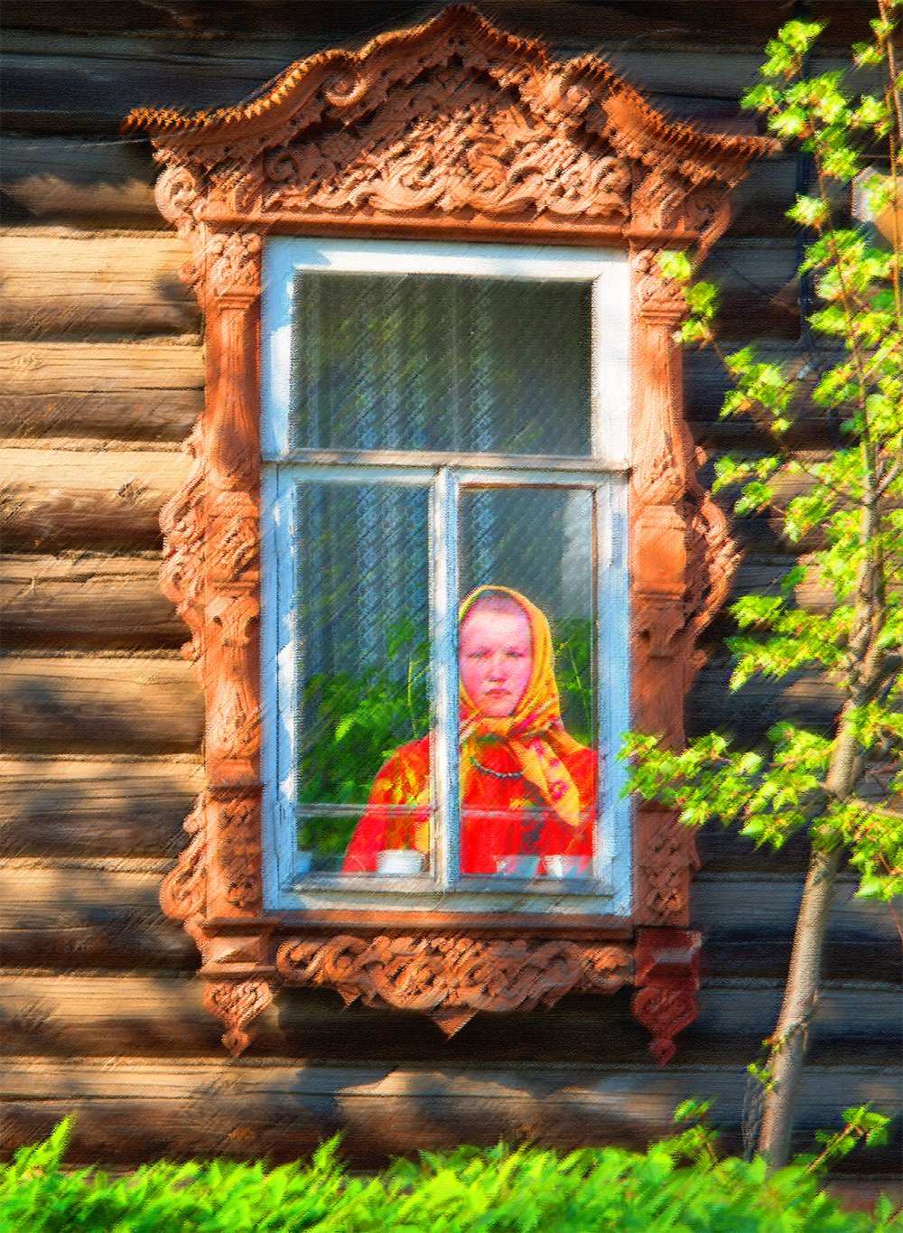 Girl in Russian House Window