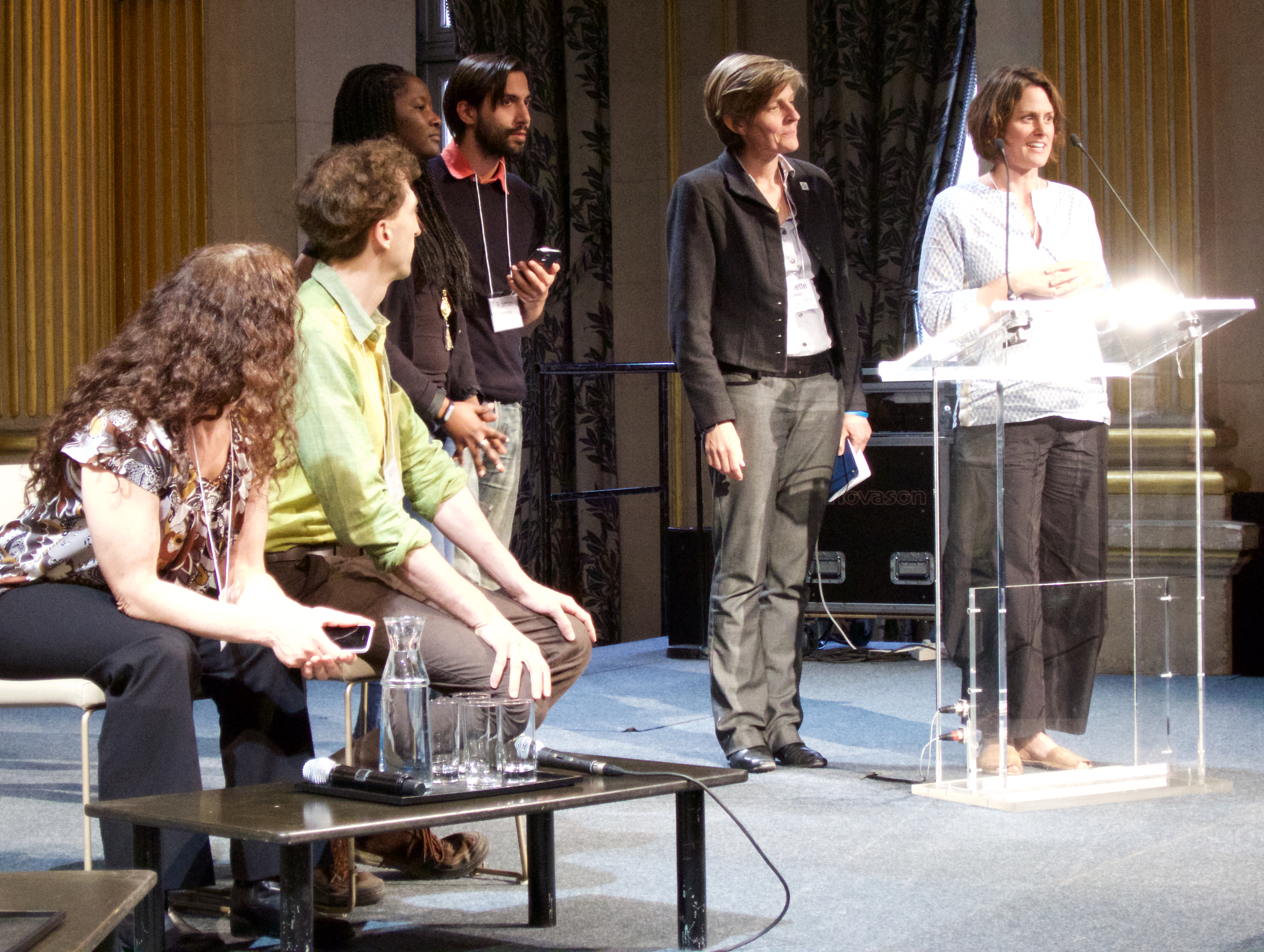 At the Hôtel de Ville, presenting ideas for healing the city of Paris at the Paris Sage Assembly, April 17, 2015.  From left: Jessie Tenenbaum, Arno Klein, A representative from the city, Ramin Farhangi, Annette Bakker, and Amy Clark.