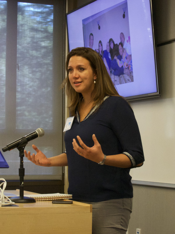 Social psychologist Piarella Peralta, patient advocate for Inspire2Live, presents at the Sage Conference held on September 19, 2015 at Stanford University.